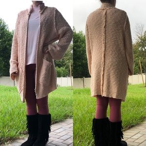 Free People peach knit duster